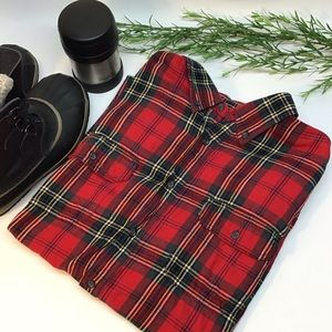 Red yellow green flannel men's size XL faded glory